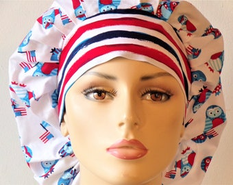 Scrub Hats Patriotic Owls Waving the Red White and Blue Stripe Headband Memorial Day 4th of July Labor Day Scrub Cap