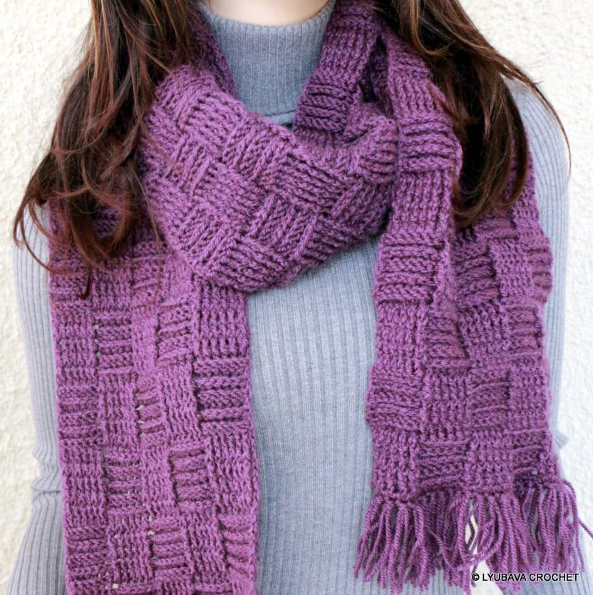 Crochet Scarf Pattern Checkered Scarf Long Scarf With