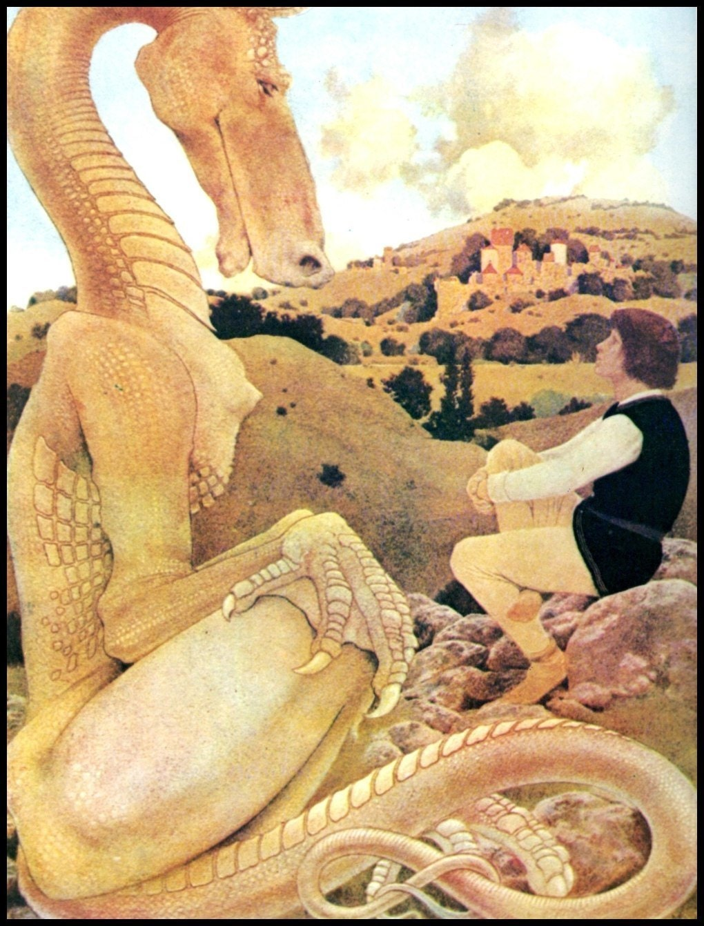 Maxfield Parrish Print Circa 1901 The Reluctant Dragon