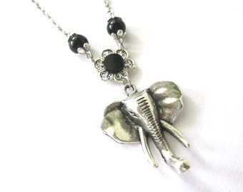 Elephant necklace jewelry black pearl beads, antiqued silver elephant pendant necklace long chain
