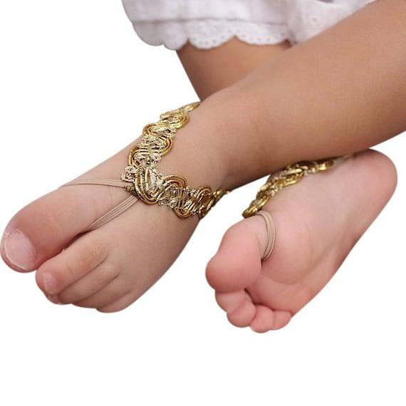 Gold Baby Sandals, Newborn Sandals, Newborn Barefoot, Gold Sandals, Sandals for Newborn, Barefoot Sandals, Toddler Sandals, Infant Sandal