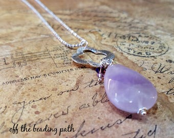 Long Amethyst Necklace - Ball Chain Necklace, Pendant Necklace, Silver Necklace