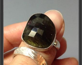 Moldavite ring US size 7.75