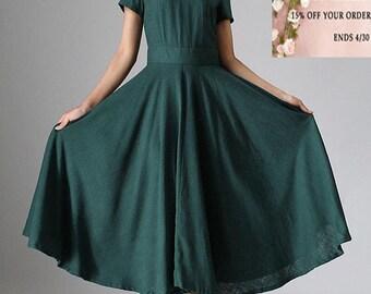 Linen dress, maxi dress, green dress, midi dress, summer dress, evening dress, flowy dress, elegant dress, short sleeve dress  971