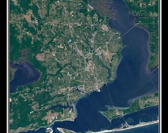 Pensacola Florida Satellite Poster Map