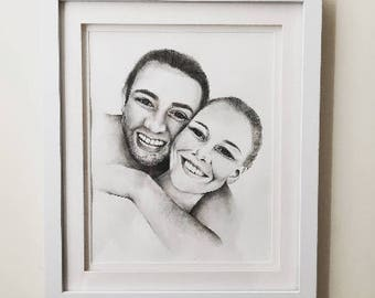 Custom Couples Ink & Water Colour Illustration