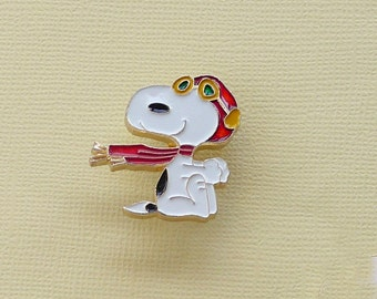 Aviva Vintage Snoopy Flying Ace Sitting with Red Helmet and Scarf Pin Enamel Cloisonne  1057
