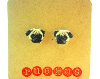 Pug Stud Earrings, Pug Jewelry, Pug Gift, Pug Life, Dog Lover Gift, Pet Earrings, Pet Jewelry, Animal Stud Earrings, Dog Stud Earrings