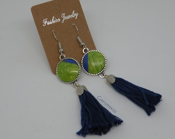 Green and blue polymer clay round earrings