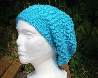 Teal Slouch Hat, Crochet Hat, Puff Stitch