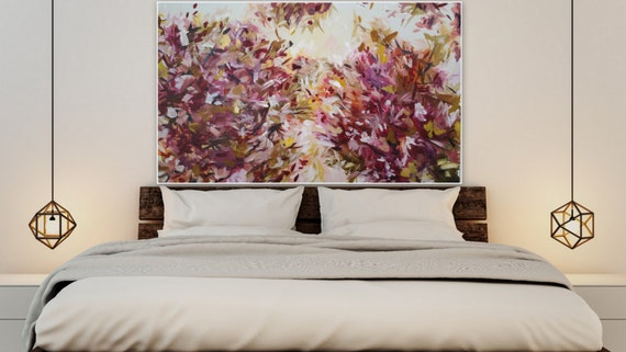 Original Abstract f;oral painting shipped ready to hang. 36 x 60 inches large abstract painting, pink, purple beautiful abstract painting