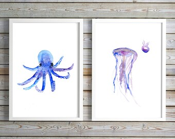 Baby octopus Art - baby jellyfish watercolor painting - print - Nursery sea animals - ocean art - octopus painting purple blue decor
