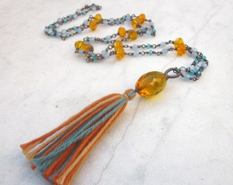 Bohemian tassel necklace, long bead necklace, patinaed copper wire wrapped gyspsy necklace, orange blue crystal quartz & jade boho necklace