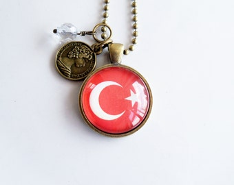 Flag of Turkey Necklace - Turkish Flag - World Flags - Patriotic Pendant - Custom Jewelry - Travel Necklace - Flag Jewelry - Eastern Europe