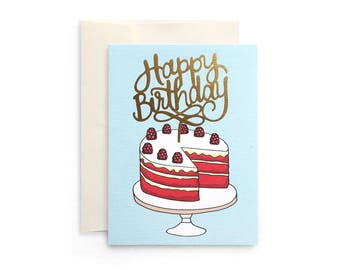 Happy Birthday - Birthday Card with Gold Foil