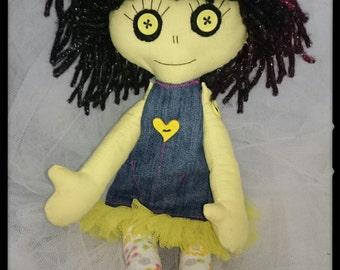 """Gothic Ragdoll/doll/custom doll/ 14"""" tall ragdoll,creepy doll, rag doll. horror doll,cloth doll,fabric doll, gothic doll"""