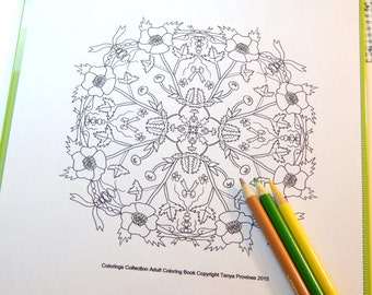Printable Buttercup Mandala Adult Coloring Page Instant Download Meditative Drawing Coloring Pages Stress Relief Relaxation Flowers To Color