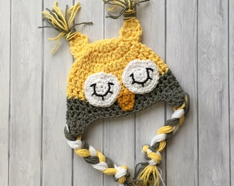 Owl hats for baby, crochet owl hat, newborn photo prop, grey newborn owl hat, toddler owl hat, yellow owl hat, baby own hat, newborn owl hat