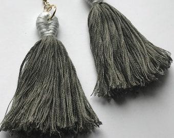 Gray Tassel Earrings with Ivory Tops- XL