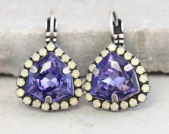 Purple Earrings,Purple Swarovski Crystal Earrings,Violet Crystal dangle Earrings,Gift for woman,Tanzanite Swarovski Earrings,Gift for her