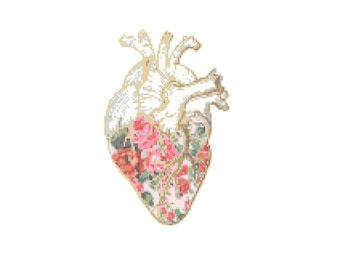 Floral Anatomical heart Cross Stitch Pattern cross stitch Floral heart Science geeky cross stitch floral cross stitch pattern