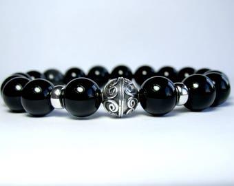 Mens Onyx Bracelet, Mens Beaded Bracelet, Bracelet for Men, Gemstone Bracelet, Stretch Bracelet, Boyfriend Gift, Mens Jewelry
