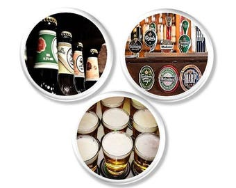 Beer Lovers Cabinet Drawer Pull Handles - Rec Room, Brewina, Bottle, Mancave, Bar Decor, Handmade Wood Knob, Decorative, Dresser - 115D25