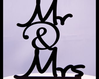 Mr. and Mrs. with ampersand wedding cake topper design 2 - Mr. & Mrs. wedding cake topper