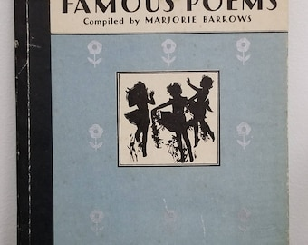 vintage 1931 Poetry Book, A Book of Famous Poems For Older Boys and Girls, Compiled by Marjorie Barrows, Illustrations by Janet Laura Scott