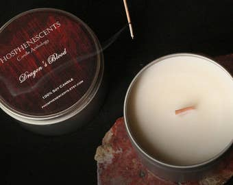Dragon's Blood Incense / Soy Tin Candle/ Wood Wick / Meditation