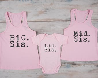 Big Sister Middle Sister Little Sister, Sibling Shirts Set of 3 - Big. Sis. Pink Tank Top, Mid. Sis. Pink Tank Top, Lil. Sis. Bodysuit