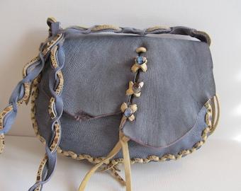Leather Purse Handmade Lavendar Small Scallop