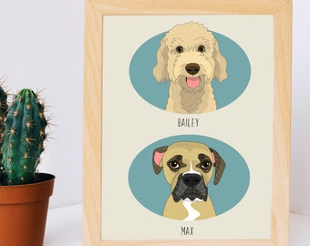 Custom pet portrait. Digital drawing. Dog replica. Pet Portrait Illustration. Pet memorials. Dog or Cat Portraits.