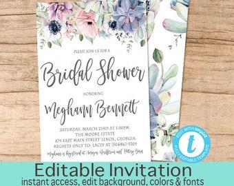 Boho Succulent Bridal Shower Invitation, Editable Boho Chic Shower Invite Template, Floral Succulent, Fall Shower, Templett Instant Download