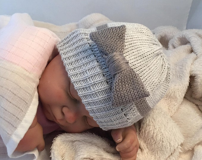 Hand knitted grey baby bow beanie hat beautiful new baby gift
