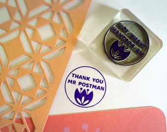 Thank You Mr Postman Stamp ~ write more letters rubber stamp, snail mail is love, pen pal, postcrossing, letter writing, mail man, thanks