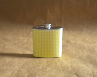 Sorority Gift Flask SALE Yellow and White Gingham Print 6 ounce Stainless Steel Girl Gift Flask KR2D 6882