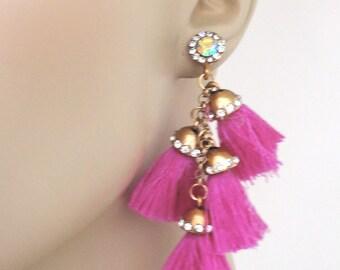 Tassel Earrings - Statement Earrings - Pink Earrings - Stud Earrings - Boho Earrings - Crystal Earrings - Long Earrings - handmade jewelry