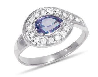 Sterling Silver Ring, Amethyst Ring, Gemstone Ring, Cubic Zirconia