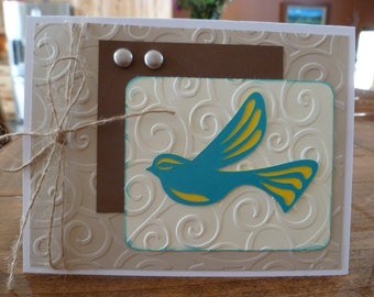 Filagree blue, yellow bird, pet, wind embossing background, loss, sympathy, jute string, any ocassion