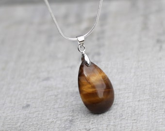 Tigers Eye Small Teardrop Pendant With Silver Plated Chain