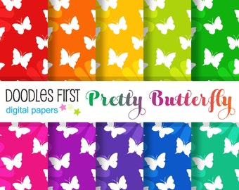 Pretty Butterfly Seamless Digital Paper Pack Includes 10 for Scrapbooking Paper Crafts