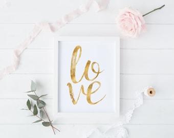 LOVE, love print, love art, friendship, love home decor, gold foil, digital print, instant download