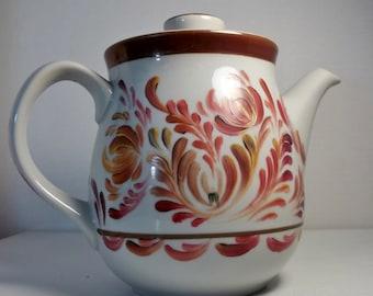 Vintage Tea Pot, Stoneware, Hand Painted, Scandinavian Design, Swedish, Norwegian, Rosemaling, Folk Art, Scandinavian Art, Kitchen Decor.