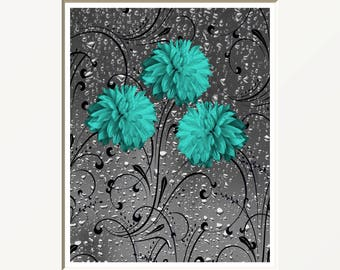 Bathroom Teal Decor, Teal Gray Floral Bath Pictures, Modern Powder Room, Bathroom, Bedroom Teal Gray Matted Wall Pictures
