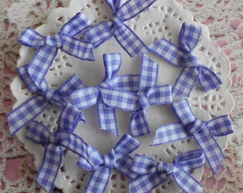 Bow purple and white gingham polyester 3.00 cm width (per 10 knots).