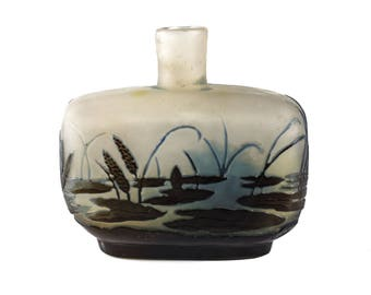 Galle Cameo Etched Art Glass 3-Layer Perfume Bottle Lily Pot & Flower