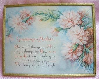 Framed Mother's Day Greeting Vintage 1930's