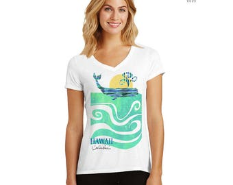 Whale V-neck T-shirt – Ninikea, clothing, women's tshirts,  tops, tees, t-shirts,