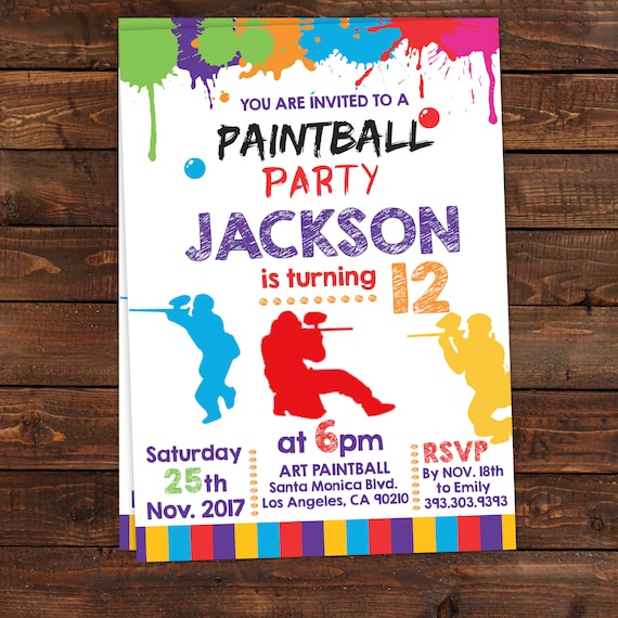 Printable Paintball Party Invitations Paintball Invitation